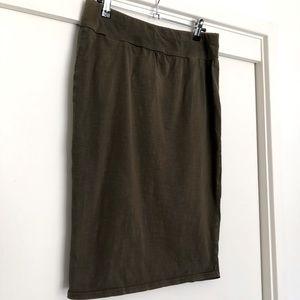 MAIVE & BO khaki green stretch pencil skirt